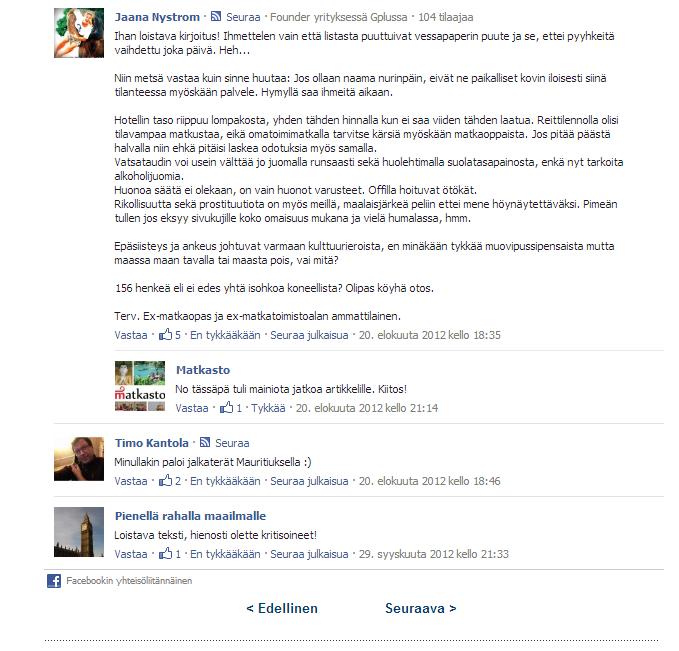 Matkastossa oli ennen uudelle julkaisualustalle siirtymistä käytössä Facebook-kommentointi. Tässä kuvakaappaus tämän jutun kommenteista.