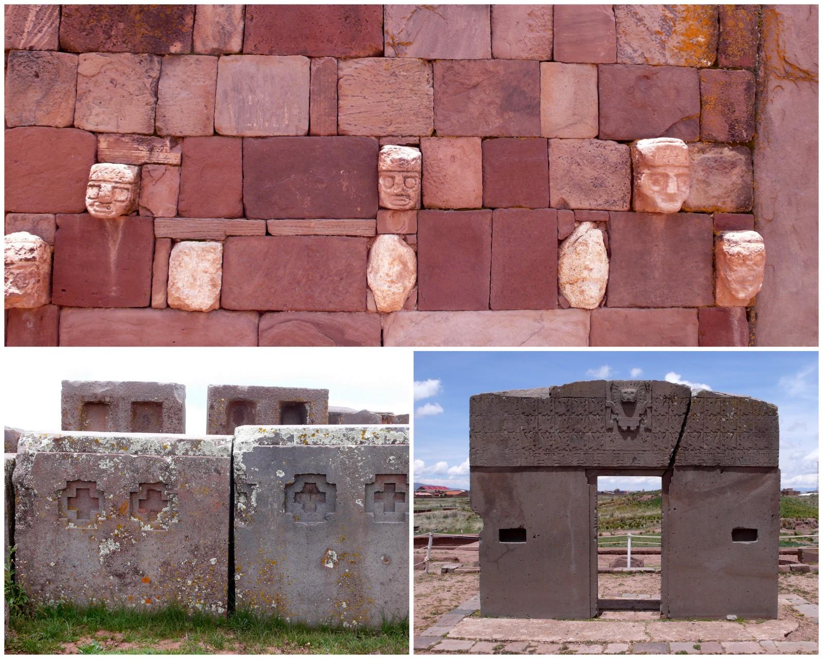 Ylhäällä: Kalasasayan temppelin kiviseinää. Alhaalla oikealla: Auringonportti on 3,8 metriä leveä ja 2,8 metriä korkea. Siinä esiintyvä jumalhahmo Tunupa oli laajalle levinneen uskonnon ja hallintovallan symboli. Tunupalla on ukkosen ja tulen voimat.