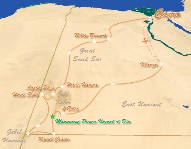 Sahara, Egyptin Läntinen aavikko: Kamal Expedition -reitti.